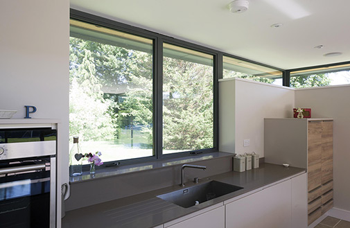 kitchen with Alitherm aluminium windows in dark grey