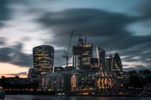 City of London skyline at dusk under construction