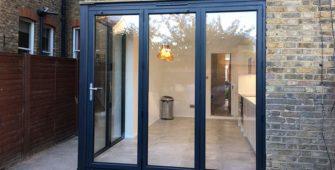 corner bi fold doors dark grey