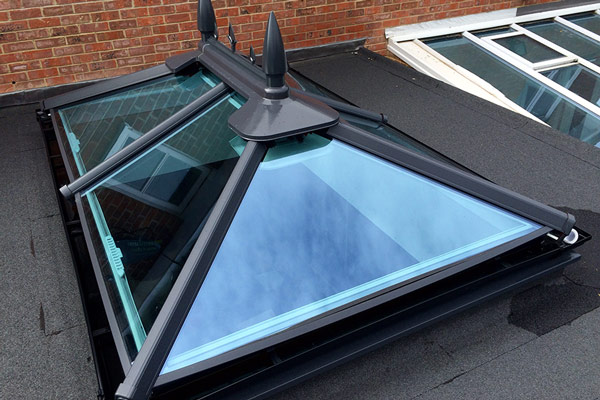 grey roof lantern solar glass