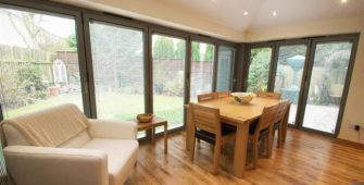 house extension with corner bi-fold doors