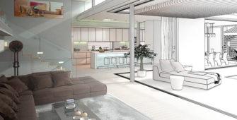 modern living home plan drawing
