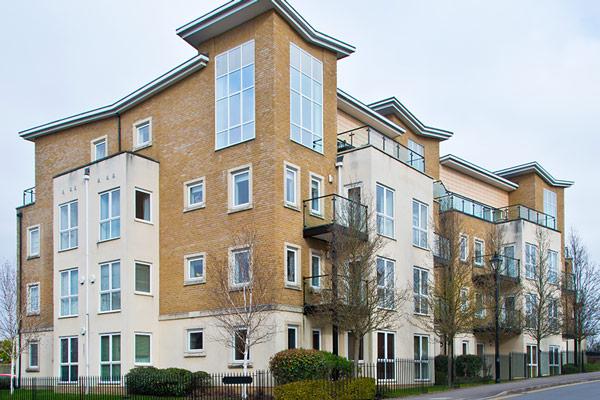 new housing development with white aluminium windows