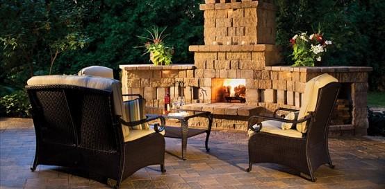 stone fireplace garden